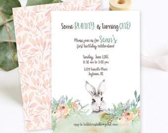 Birthday Party Invitations/Packages - Some Bunny is Turning One (Style 13856)