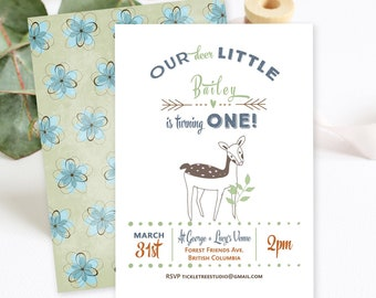 Birthday Party Invitations - Our Little Deer is Having a Birthday (Style 13521)