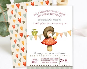 Birthday Party Invitations/Packages - Hedgehog Summersaults (Style 13674)