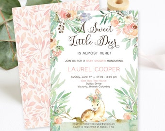 Baby Shower Invitations/Packages - A Sweet Little Deer is Almost Here (Style 13918)
