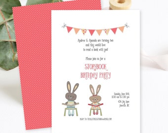 Birthday Party Invitations/Packages - Book Party, Gender Neutral (Style 13090)
