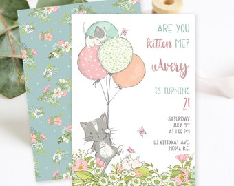 Birthday Party Invitations/Packages - Are You Kitten Me (Style 13810)