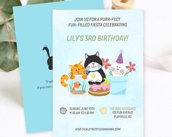 Birthday Party Invitations/Packages - A Purr-fect Fun Filled Fiesta (Style 13486)