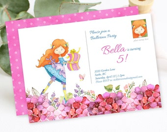 Birthday Party Invitation - Ballerina Party (Style 13392)