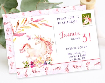 Birthday Party Invitation - Unicorn Dreams 2 (Style 13753)