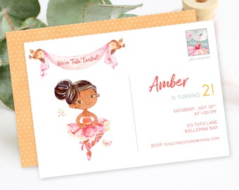 Birthday Party Invitations - Ballerina Party, Tutu Excited (Style 13920)