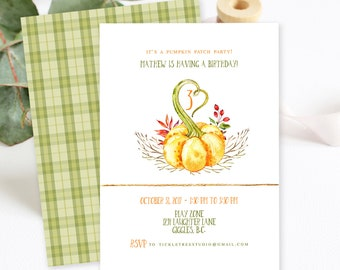 Birthday Party Invitations/Packages - Pumpkin Patch Party (Style 13756)