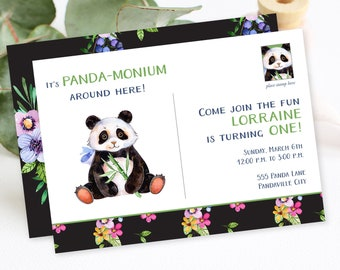 Birthday Party Invitation - It's Panda-Monium Around Here! (Style 13692)