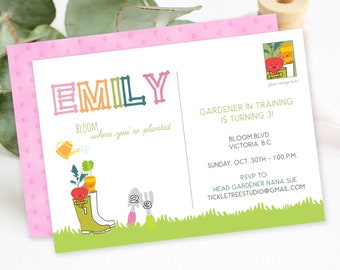 Birthday Party Invitation - Gardener in Training (Style 13433)