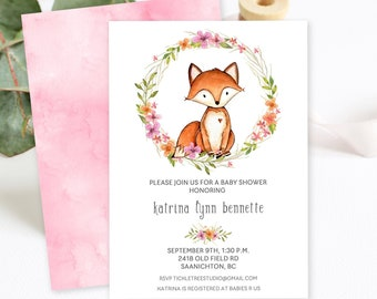 Baby Shower Invitations/Packages - Fox and Wild Flower (Style 13615)