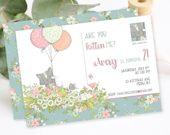 Birthday Party Invitation - Are You Kitten Me (Style 13810)