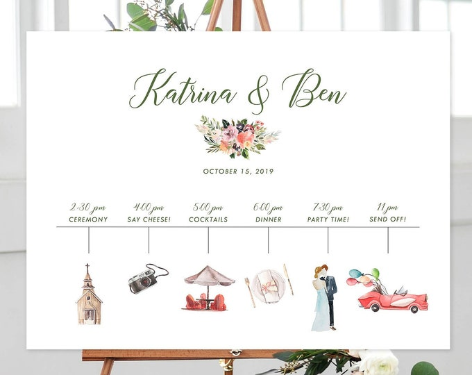 Featured listing image: Wedding Timeline - Watercolour Graphics (Style 13894)