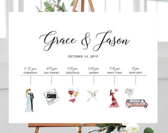 Wedding Timeline - Watercolour Graphics (Style 13893)