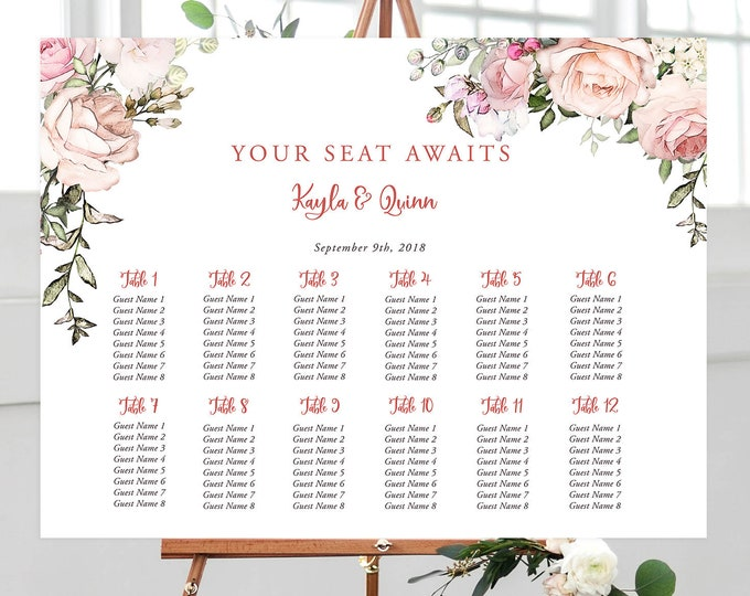 Printable Seating Chart - Roses in Bloom (Style 13807)