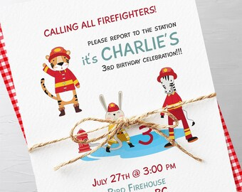 Birthday Party Invitations - Calling on all Young Firefighters (Style 13530)