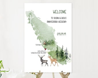Welcome Sign - Vancouver Island Destination Wedding (Style 13865)