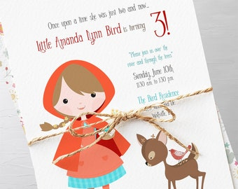 Birthday Party Invitations - Little Red Riding Hood/Woodlands (Style 13349)