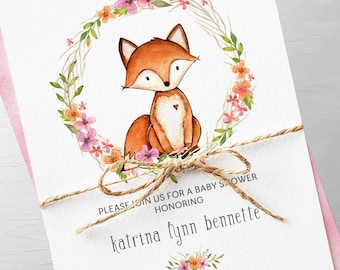 Baby Shower Invitation Packages - Fox and Wild Flower (Style 13615)