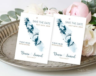Save the Date Luggage Tags - Surfer Wanderlust - Vancouver Island, Destination Wedding (Style 13839)