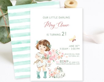 Birthday Party Invitations - Little Miss Spring Garden (Style 13947)