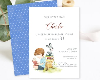 Birthday Party Invitations - He Loves to Read (Style 13948)