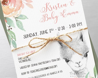 Baby Shower Invitations - Llama Love (Style 13857)