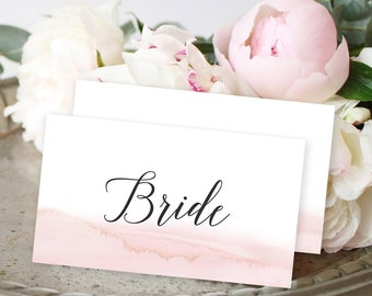 Place Cards - Modern and Subtle Golds & Pinks (Style 13844)
