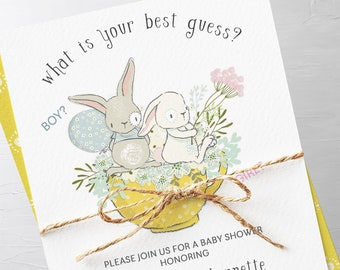 Baby Shower Invitations - Bunny Reveal (Style 13642)