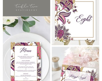 Day Of Packages/Table Decor - Indian Print Fuchsia & Royal Purple (Style 13867)