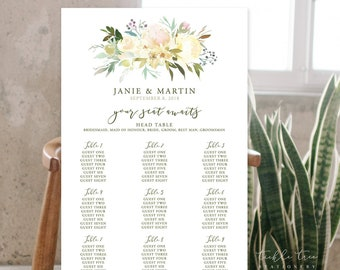 Seating Chart - White Bloom (Style 13816)