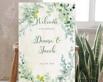 Welcome Sign - Green Foliage & Watercolours (Style 13828)