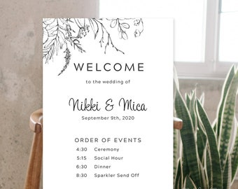 Welcome & Order of Events Sign - Rustic Simplicity (13956)