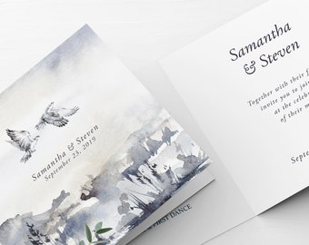 Wedding Invitations (Folded Card) - White Hawk (Style 13862)