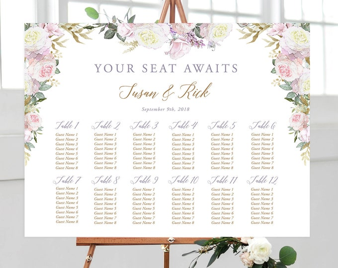 Printable Seating Chart - White Rose & Gold (Style 13806)