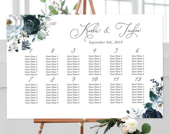 Seating Chart - Navy & Bloom (Style 13815)