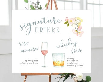 Signature Drinks Sign - Watercolour Beverages (13927)