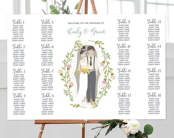 Seating Chart - Couple Illustration (Style 13819)