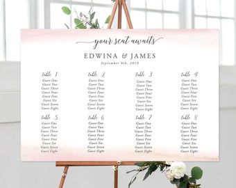 Seating Chart - Modern and Subtle Golds & Pinks (Style 13844)