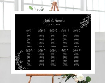 Seating Chart - Black & White Elegance (Style 13803)
