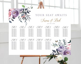 Printable Seating Chart - Lavender Whispers (Style 13805)