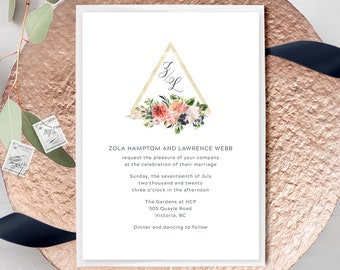 Wedding Invitations - Geometric & Florals (Style 13984)