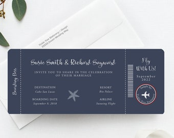 Wanderlust/Come Fly with Us - Boarding Ticket Invitations (Style 13769)