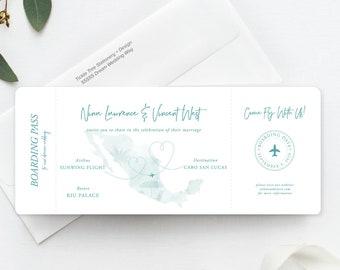 Wanderlust - Destination Wedding - Ticket Invitation (Style 13884)
