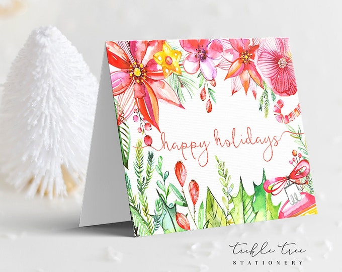 Holiday Greet Card Set - Watercolour Florals & Deer (Style 13996)