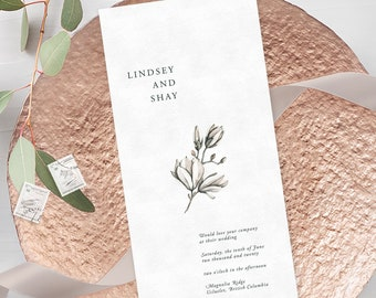 Wedding Invitations - White Magnolia (Style 13983)