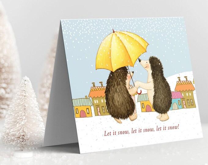 Holiday Greet Card Set - Santa Claus and Hedgehog Themes (Style 13995)