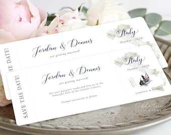 Save the Date Ticket Style - Destination Wedding (Style 13959)