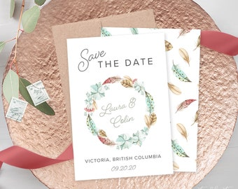 Save the Date Cards (DEPOSIT) - Boho Pastel (Style 13982)