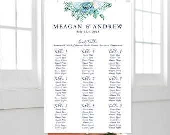Printable Seating Chart - Teal Garden (Style 13744)