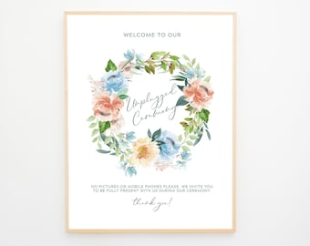 Instant Download - Reception Sign/Unplugged Ceremony - Blue & Peach Florals (Style 13940)